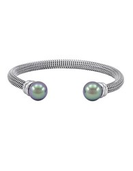 Majorica Silvertone Bangle Bracelet With Pearl End Caps Grey Pearl Silver