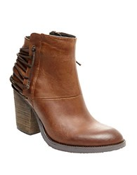 Steve Madden Raglin Leather Ankle Boots Cognac
