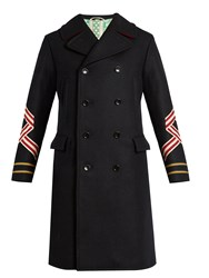 Gucci Panther And Sleeve Applique Wool Coat Navy