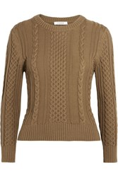 Frame Cable Knit Pima Cotton Sweater Army Green
