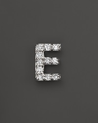Kc Designs Diamond Initial Stud Earring In 14K White Gold