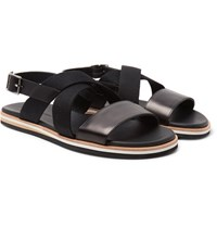 Want Les Essentiels Jobim Leather And Canvas Sandals Black
