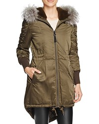 Derek Lam 10 Crosby Satin High Low Hem Fur Trim Anorak Loden