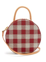 Mansur Gavriel Circle Gingham Cotton Canvas Cross Body Bag Red Multi