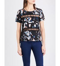French Connection Cornucopia Lace Insert T Shirt Black Multi