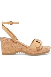 Stella Mccartney Faux Leather Wedge Sandals Beige