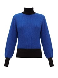 Fusalp Muzelle High Neck Ribbed Knit Sweater Navy