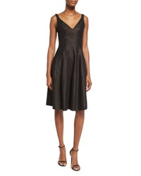 J. Mendel Sleeveless Metallic Striped Tweed Dress Copper Black Copper Noir