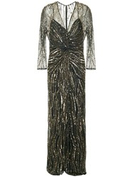 Jenny Packham Sequin Embroidered Gown Metallic