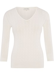 Austin Reed Cable Knit V Neck Jumper Ivory