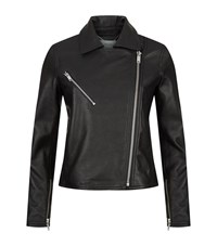Reiss Brewer Leather Biker Jacket Female Black