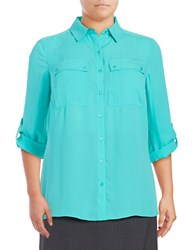 Jones New York Plus Pleated Crepe Blouse Green