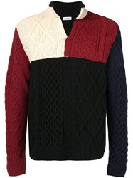 Coohem Aran Patchwork Knit Jumper Multicolour
