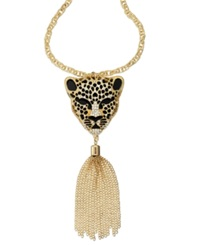 Thalia Sodi Gold Tone Animal Head Tassle Pendant Necklace