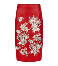 Alexander Mcqueen Flower Embellished Leather Skirt Female Red