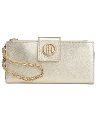 Tommy Hilfiger Leather Chain Wristlet Wallet Gold