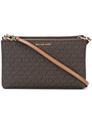 Michael Kors Collection Logo Print Crossbody Bag Brown