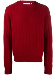 Helmut Lang Ribbed Crew Jumper Red