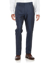 Calvin Klein Slim Fit Linen And Cotton Pants Midnight