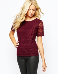 Oasis All Over Lace Detail T Shirt Cherry