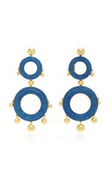 Joanna Laura Constantine Grommet Gold Plated Brass And Cubic Zirconia Statement Earrings Blue