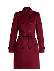 Burberry Kensington Wool And Cashmere Bend Trench Coat Burgundy