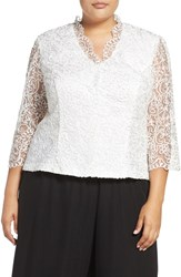 Alex Evenings Plus Size Women's Embroidered Illusion Sleeve Blouse White
