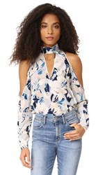 Yumi Kim Hot And Cold Silk Top Blue Surfer