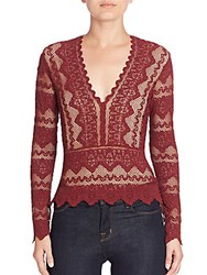 Nightcap Clothing Sierra Deep V Neck Top Garnet