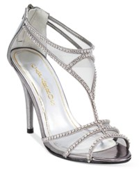 Caparros Blue Bell Strappy Illusion Evening Sandals Women's Shoes Pewter Metallic