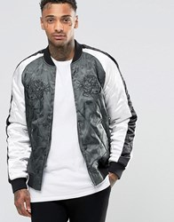 Asos Bomber Jacket In Camo With Tiger Embroidery Camo Green