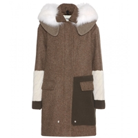 Fendi Wool Coat With Fox Fur Yellow
