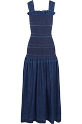Stella Mccartney Ruffled Smocked Denim Maxi Dress Dark Denim