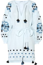 March11 Gutsul Belted Embroidered Linen Mini Dress Sky Blue