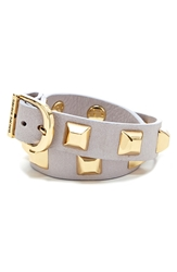 Hayden 'Double Tour Ramone' Studded Leather Cuff Palest Lilac
