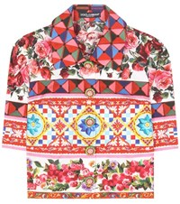 Dolce And Gabbana Cropped Cotton Blouse Multicoloured
