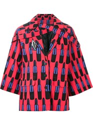 Ktz Lipstick Print Oversized Jacket Red