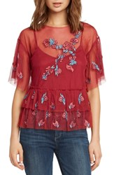 Willow And Clay Embroidered Ruffle Top Scarlet