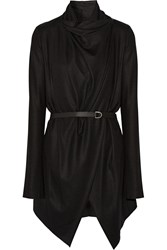 Helmut Lang Belted Draped Wool Cardigan Black
