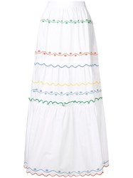 Tory Burch Embroidered Wave Skirt White
