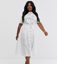 New Look Curve Embroidered Midi Skirt In White