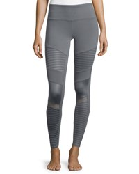 Alo Yoga Moto Full Length Sport Leggings Cadet Grey Glossy