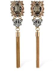 Anton Heunis Omega Clasp Crystal And Tassel Earrings Gold