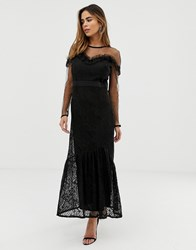 Liquorish Maxi Dress With Lace Overlay And Ruffle Detail Black