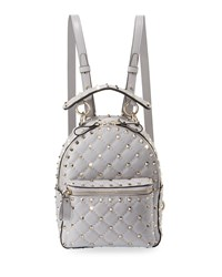 Valentino Garavani Rockstud Spike Mini Leather Backpack Gray