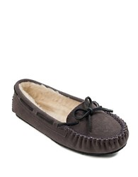 Minnetonka Cally Suede And Faux Fur Moccasins Grey
