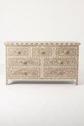 Anthropologie Bone Inlay Seven Drawer Dresser Brown