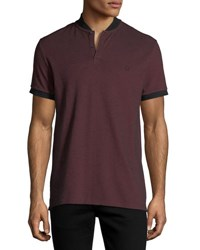 Eleven Paris Nelson Heathered Polo Shirt Maroon