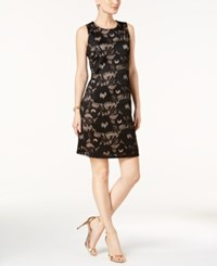 Nine West Lace Sheath Dress Black Nude