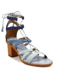 Frye Brielle Colorblock Denim Gladiator Sandals Denim Multi